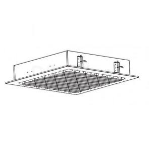 Потолочный светильник с диагональным расположением отражателей, под углом 45° относительно корпуса светильника. Размер: 595 x 595 x 122 мм. С возможностью регулирования уровня яркости. Цифровое управление, интерфейс DALI