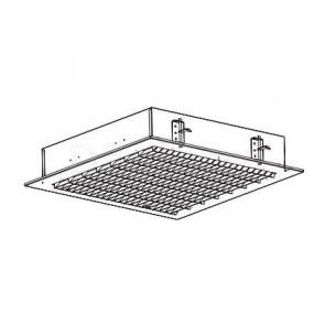 Потолочный светильник с перпендикуляным расположением отражателей под углом 45° относительно корпуса светильника. Размер: 595 x 595 x 122 мм. (Основное применение: ВКС)